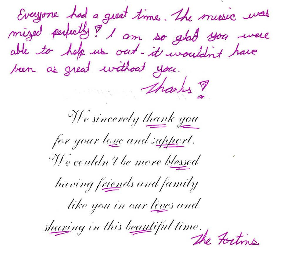 Justin & Emily Fortin Thank You Card